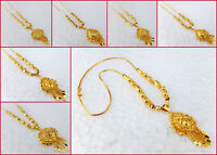 Ethnic South Indian 22k GoldPlated Necklace Bridal Fashion Jewelry Chain pendant