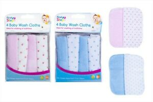 8 baby wash cloths newborn washing bath time baby care 100% polyester pink blue