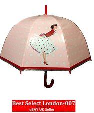 Ladies Retro 50'S Lady Mrs Smith Dome Umbrella PinkRed Ideal For Races Weddings