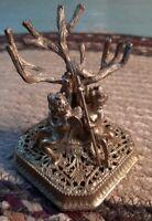 Vintage Gold Guilded Filagree Cherub Angels Paddling Island Tree Figurine Statue