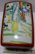 Chinese Lacquer Box With Figural Antique Porcelain Lid. Children Playing & Cat.