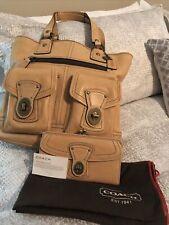 EUC Coach Gigi Camel Vachetta Leather Legacy Tote & Kiss-lock Wallet Set *Rare*