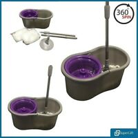 360° Spin Mop Floor Bucket Set with 2 Mop Heads Micro-Fibre