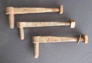 "Three 10 ½"" Antique Hand Forged Barn Door/Gate Hinge Pintles"