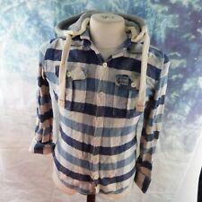 "Superdry blue tartan plaid Hooded Shirt. 17"" pit-to-pit, 25"" length, Medium"