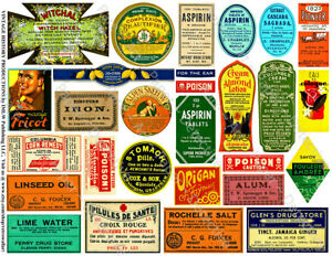 Pharmacy Labels, 2 Sticker Sheets, Antique Apothecary Bottle, Druggist Remedy