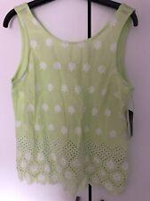 Next Green Daisy Floral Crochet Sleeveless Top, Size 12, BNWT