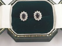 Fine Oval Cut Sapphire and Diamond Stud Earrings  9ct Gold Cluster - 10mm x 7mm