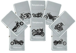 Sturmfeuerzeug mit echter Gravur: Motorrad Modelle Marke BMW - Benzinfeuerzeug