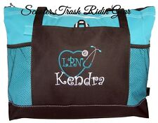 Personalized Tote Bag Book Turquoise Teal Monogram Nurse Teacher Diaper Anchor