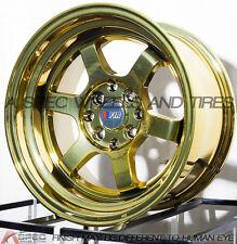 15X8 +0 F1R F05 4X100 GOLD CHROME RIM FIT HONDA CRX DEL SOL FIT CIVIC SI EK6 EK9