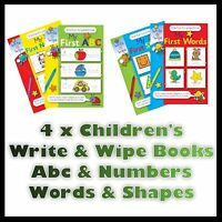 4 CHILDREN'S MY FIRST WRITE AND WIPE FUN PRACTICE BOOKS ABC NUMBERS WORDS SHAPES