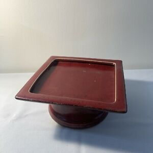 Pottery Barn Pedestal Stand Red Burgundy Decor Riser Farmhouse Distressed Candle
