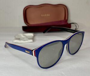 GUCCI GG0271S 004 BLUE Iconic LOGO Mirrored Red/White Stripe Sunglasses W/ Case