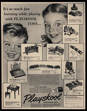 1952 PLAYSKOOL Toys - Train - Nok-Out Bench - Sewing Box - Christmas VINTAGE AD