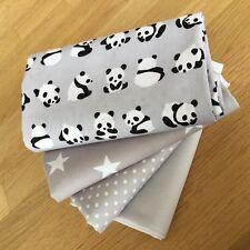 Lil pandas Gris cuarto Gordo paquete 100% Tela De Algodón Bebé Oso Panda