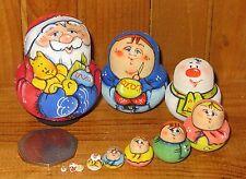 Russian Tiny Matryoshka Nesting 10 Dolls Father Christmas Santa Latisheva signed