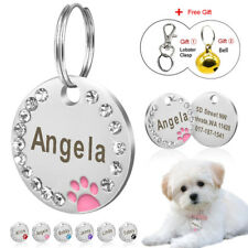 Cute Bling Paw Print Pet ID Tags Custom Engraved Cat Tag Personalized Free Bell
