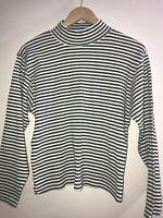 Prides Landing  Womens Sweater Turtleneck Size L Large Striped White/green.    E