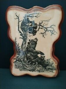 """Vtg Handcrafted Wood Oil Plaque Cabin Art Mama Bear and Her Clubs Play  14""""x11"""""""