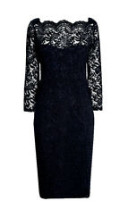 New NEXT Black LACE EVENING DRESS Size 14 BNWT