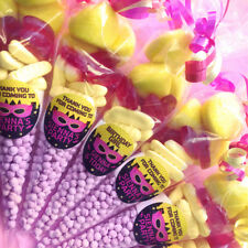 Pre-filled Party Sweet Cones with Personalised SUPERHERO GIRL Sticker party bags