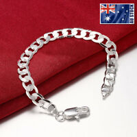 925 Sterling Silver Filled Classic Women's 8MM Solid Curb Chain Bracelet Bangle