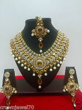 Indian Designer Bollywood Gold Plated Yellow Fashion Bridal Jewelry Necklace Set