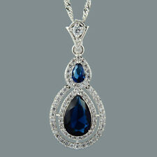 Pear Cut 18K White Gold Plated Cubic Zirconia Blue Sapphire Pendant Free Chain