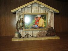 "Fishing house Doc picture frame freestanding  holes one 4"" by 6"" picture"
