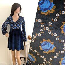 Topshop Archive 70s Repro Vtg Velvet Rose Frill Floral Mini Tunic Dress 10 38