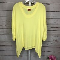 Oh My Gauze Womens Yellow Lagenlook Top Size 2