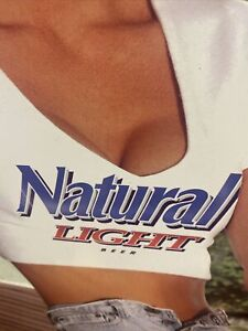 Natural Light And Ice BEER SIGN Girl Anheuser Busch 2000 VERY RARE Hard To Find