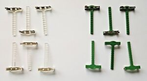 6 plastic corsage pins clips brooch for buttonholes & corsages green or clear