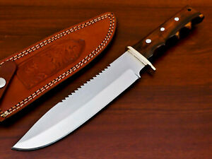 AWESOME HAND FORGED STAINLESS STEEL HUNTING KNIFE-NATURAL WOOD HANDLE- PK-3002