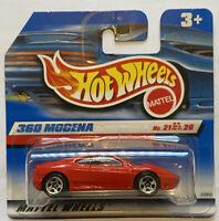 1999 Hotwheels Ferrari 360 Modena Red European Short Card Release MOC!