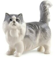 Gray Persian Cat Figurine Russian Imperial Porcelain Cat Sculpture Lomonosov LFZ