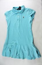 Ralph Lauren Pleated Baby Blue Collared Polo Shirt Dress Girls Medium 8 10