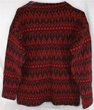 Red & Black Heavy Wool Sweater Burgtfur Burgt Fur Qualitat Made in Austria Med
