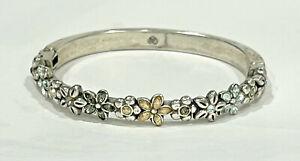 Brighton Silver Rhinestone Floral Hinged Bangle Bracelet Magnetic Closure