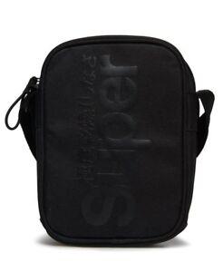 Superdry Hamilton Pouch Festival Bag Side Shoulder Travel Black Ship Worldwide