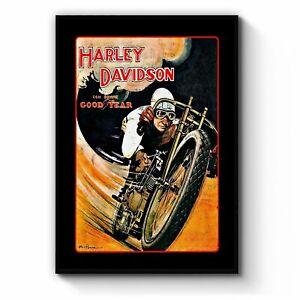 Vintage Motorcycle Advert Man Cave Wall Art
