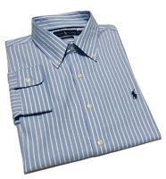 Ralph Lauren Men's Classic Fit Performance Shirt In Blue Striped  Size L