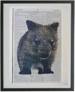Wombat Print No.759, australian animal prints, cute animals, dictionary art