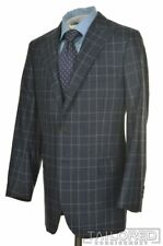 OLIVER WICKS Blue Plaid FLANNEL 100% Wool PEAK LAPEL Jacket Pants SUIT - 40 S
