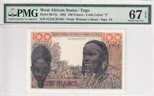 1965 West African Sates/Togo 100 Francs P-801Te PMG 67 EPQ Superb Gem UNC
