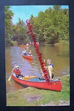 Canoes on WHITE RIVER, Michigan, Camp Pendalouan BSA, vintage postcard