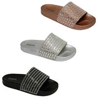 Women's Slide Sandal Monica Bling Jewel Slip-on Flip Flops
