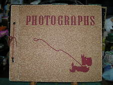 Vintage snap shot photo album with 22 old pictures 13 black sheets 26 pages.