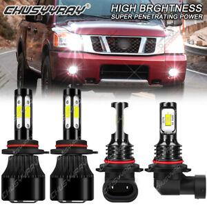 For Nissan Titan 2015-2004 6000K 9005 9006 LED Headlight Bulbs Kit High Low Beam
